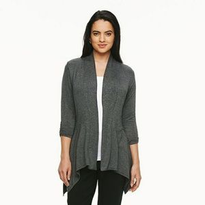Gray Jersey Open-Front Cardigan Duster